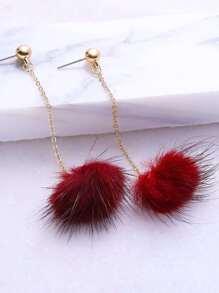 Burgundy Pom Pom Drop Earrings