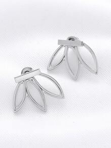 Silver Hollow Out Flower Shape Ear Studs