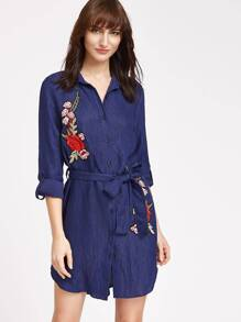 Navy Rose Patch Detail Belted Shirt Dress