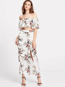White Flower Print Crop Swing Bardot Top With Slit Skirt