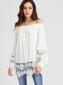 White Off The Shoulder Contrast Crochet Lace Top