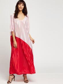 V Neckline Color Block Longline Dress