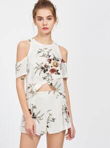 White Florals Cold Sholder Crop Slit Top With Shorts