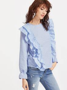 Blue Gingham Layered Ruffle Bell Cuff Top