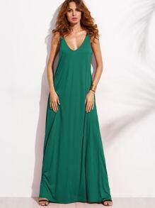 Green Double V Neck Sleeveless Maxi Tent Dress