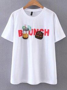White Letter Print Short Sleeve T-shirt