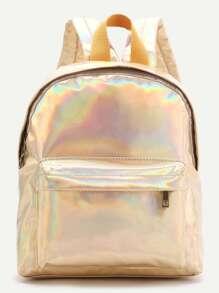 Gold Front Pocket PU Backpack