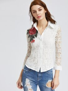 White Lace Overlay Applique Shirt