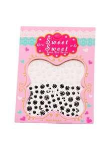 Black And White Rose Pattern Nail Sticker