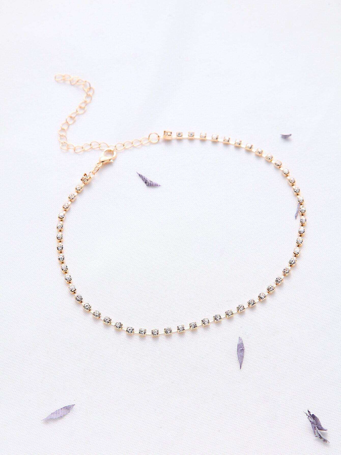 gold rhinestone delicate choker necklace emmacloth