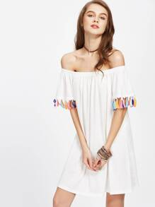 White Tassel Trim Off The Shoulder Dress