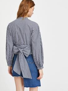 Navy Gingham Hidden Button Bishop Sleeve Belted Blouse