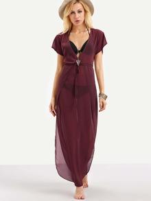 Burgundy Deep V Neck Curved Cover Up Dress