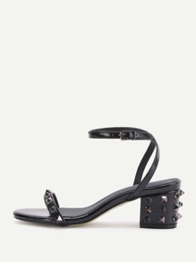 Black Studded Ankle Strap Heeled Sandals