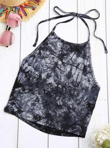Black White Tie Dye Print Halter Neck Top