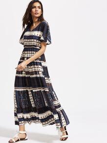Navy Patchwork Print Flutter Sleeve Dress