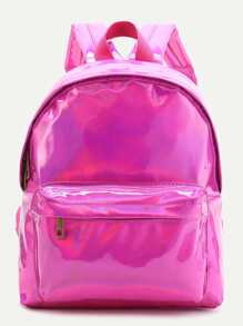 Hot Pink Front Pocket PU Backpack