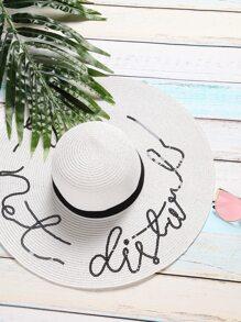 White Sequin Letter Wide Brim Straw Hat