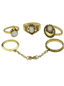 Gold Color Vintage Jewelry Metal Finger Rings Set