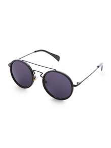 Black Frame Double Bridge Round Sunglasses
