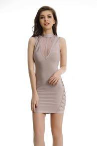 Pink Contrast Mesh Criss Cross Side Bodycon Dress