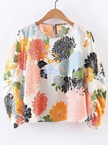 Multicolor Flower Print Keyhole Back Blouse