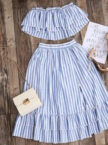 Blue Striped Flyaway Bandeau Top With Ruffle Skirt