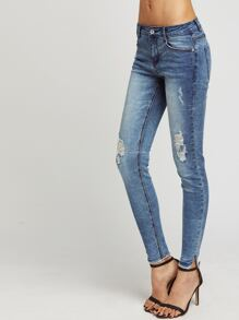 Blue Bleach Wash Ripped Skinny Jeans