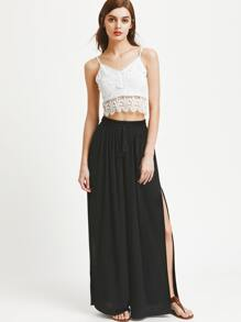 Smocked Drawstring Waistband Side Slit Palazzo Pants