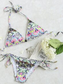 Multicolor Printed Side Tie Triangle Bikini Set