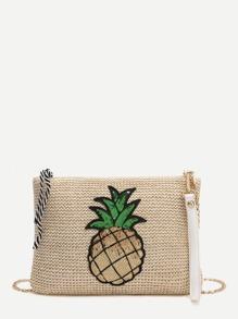 Pineapple Patch Straw Crossbaody Bag
