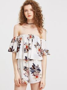 Flower Print Off The Shoulder Layered Romper