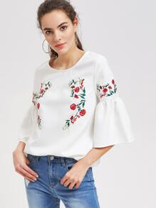 Flower Embroidered 3/4 Bell Sleeve Top
