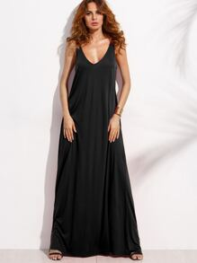 Black Double V Neck Sleeveless Maxi Tent Dress