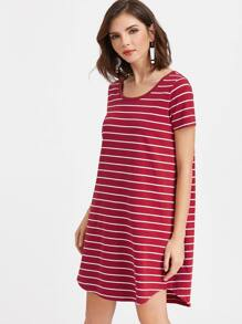 Burgundy Striped Scoop Neck High Low Tee Dress