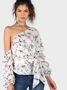 Grey Striped Asymmetric Shoulder Ruched Sleeve Wrap Top