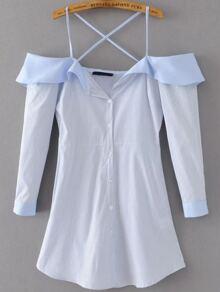 Blue Vertical Striped Cold Shoulder Criss Cross Back Shirt Dress