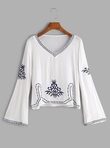 White V Neck Embroidered Blouse