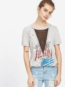 Grey Graphic Print Mesh V Insert Distressed Slub T-shirt