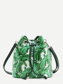 Green Leaf Print Drawstring Bucket Bag