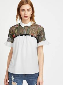 White Contrast Embroidered Mesh Yoke Ruffle Sleeve Top