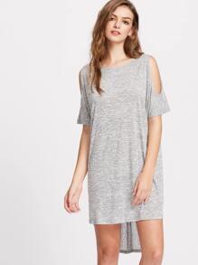 Grey Marled Open Shoulder Crossover Back High Low Tee Dress