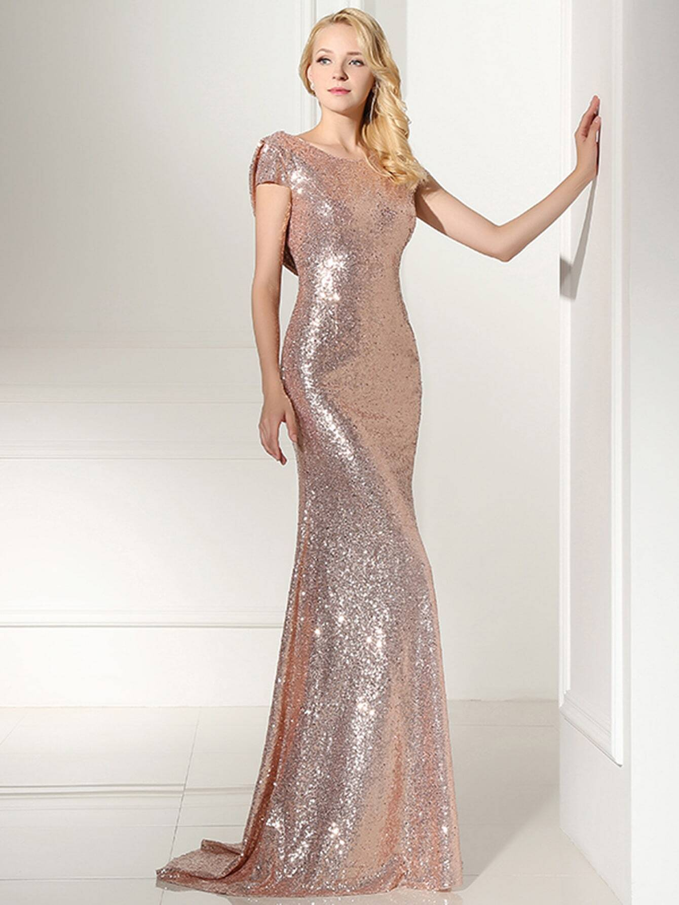Rose gold sequin open back maxi bridesmaid dress emmacloth women rose gold sequin open back maxi bridesmaid dress pictures ombrellifo Image collections