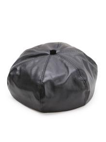 Black Faux Leather Beret