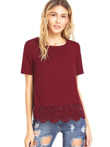 Laser Cut Scallop Hem Short Sleeve Top