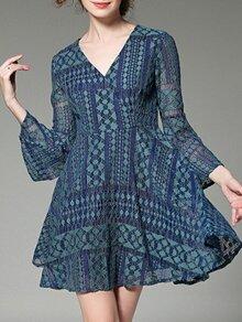 Blue V Neck Bell Sleeve Lace Dress
