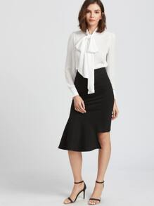 Black Fishtail Bodycon Skirt