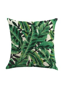 Leaf Print Square Pillowcase Cover