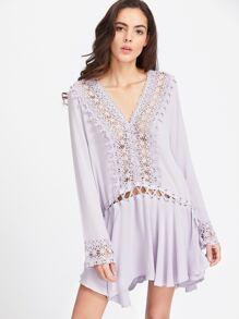 Purple Contrast Lace Eyelet Lace Up Ruffle Hem Dress