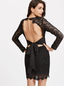 Black Bow Tie Open Back Embroidered Lace Dress
